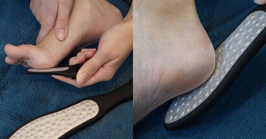 Anwendung der Fußfeile