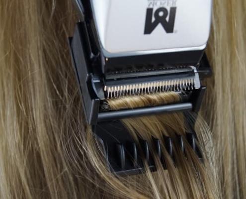 Splisstrimmer Aufsatz und Moser 1400 Anwendung im Haar
