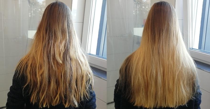 Haare Vorhher/Nachher mit der MiroPure Glättbürste