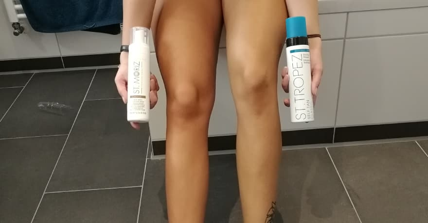 Selbstbräuner Test an den Beinen, Nach dem Auftragen