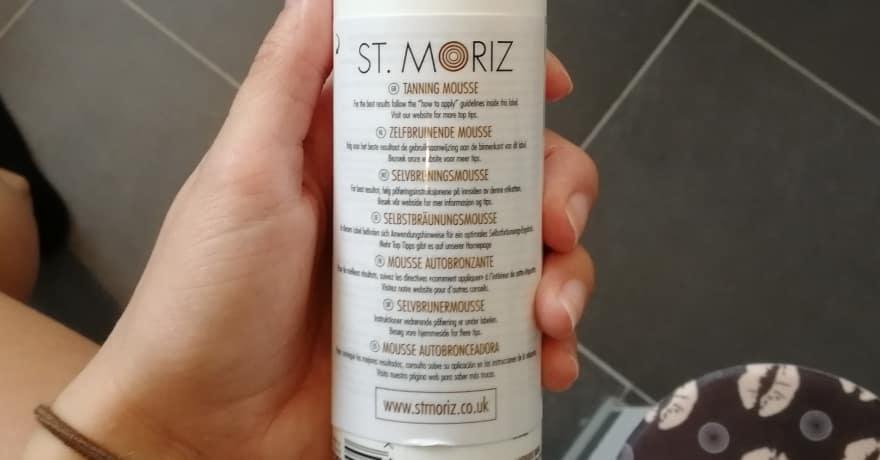 St. Moriz Flasche von Hinten
