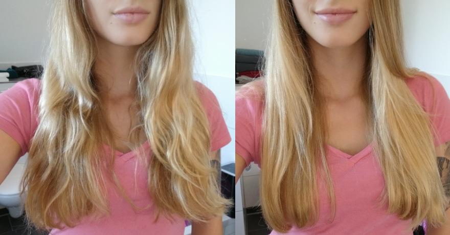 Vor und nach dem Glätten