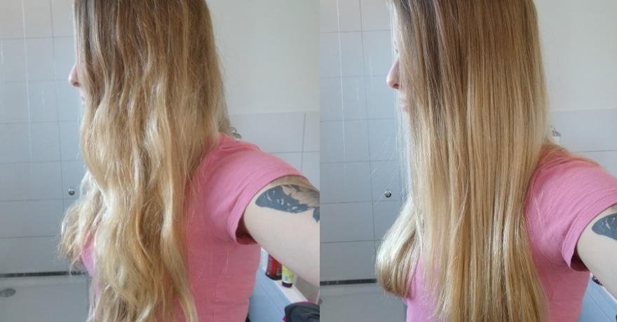 Haare Vorher/Nachher mit der Efalock Glättbürste